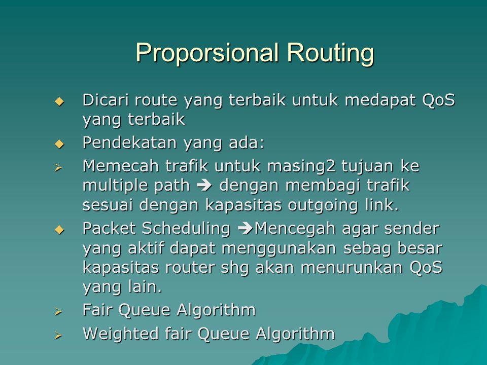 Proporsional Routing  Dicari route yang terbaik untuk medapat QoS yang terbaik  Pendekatan yang ada:  Memecah trafik untuk masing2 tujuan ke multip