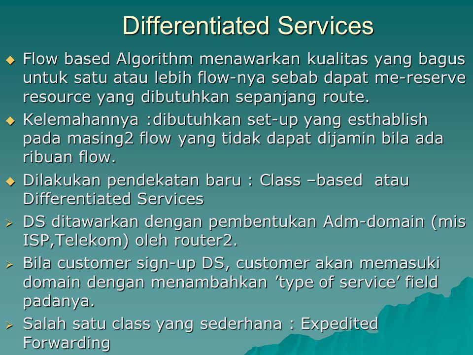 Differentiated Services  Flow based Algorithm menawarkan kualitas yang bagus untuk satu atau lebih flow-nya sebab dapat me-reserve resource yang dibu