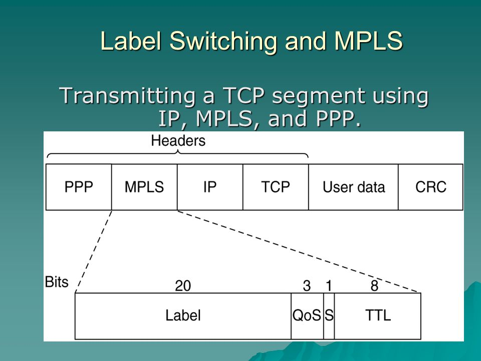 Label Switching and MPLS Transmitting a TCP segment using IP, MPLS, and PPP.