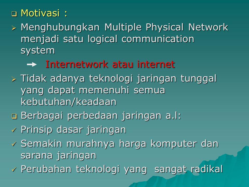  Motivasi :  Menghubungkan Multiple Physical Network menjadi satu logical communication system Internetwork atau internet Internetwork atau internet