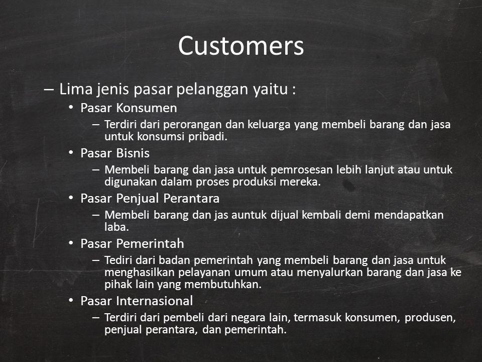 Customers – Lima jenis pasar pelanggan yaitu : Pasar Konsumen – Terdiri dari perorangan dan keluarga yang membeli barang dan jasa untuk konsumsi priba