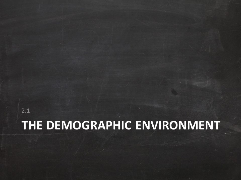 THE DEMOGRAPHIC ENVIRONMENT 2.1