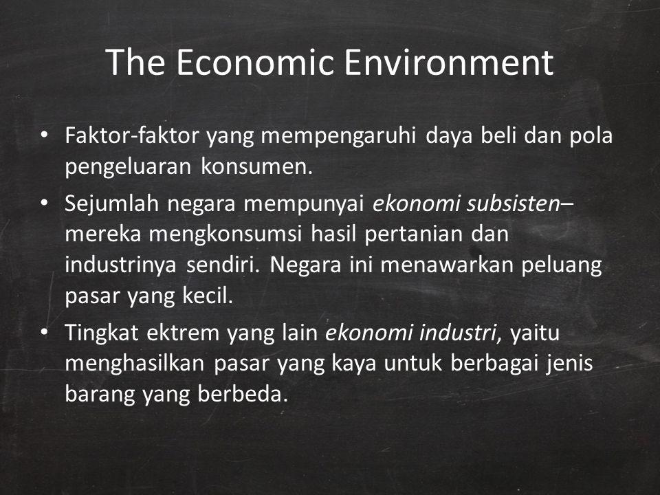 The Economic Environment Faktor-faktor yang mempengaruhi daya beli dan pola pengeluaran konsumen. Sejumlah negara mempunyai ekonomi subsisten– mereka