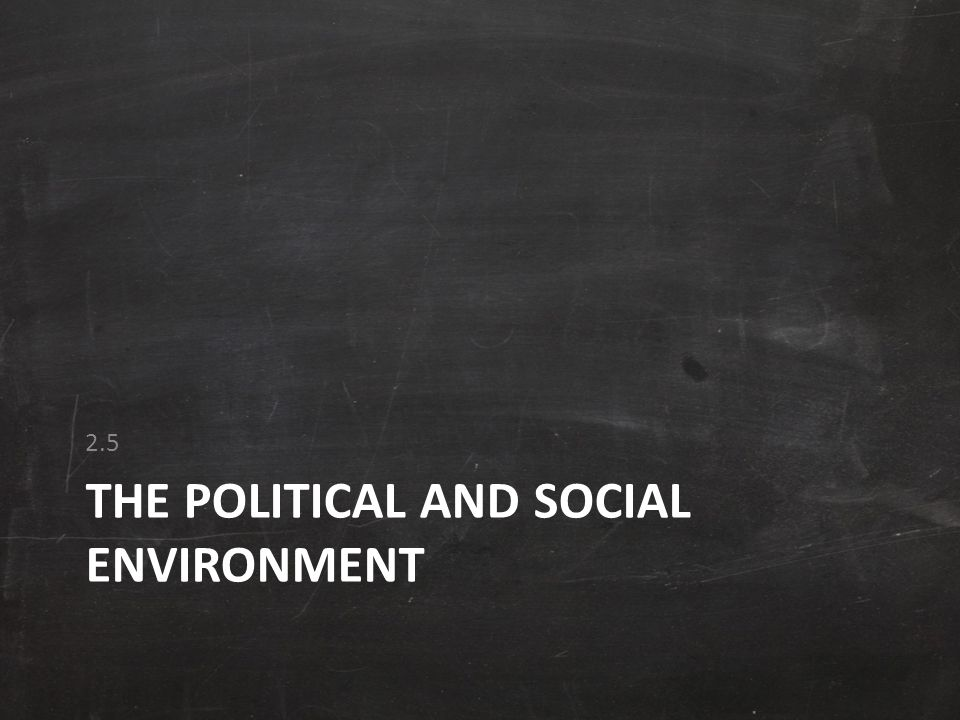 THE POLITICAL AND SOCIAL ENVIRONMENT 2.5