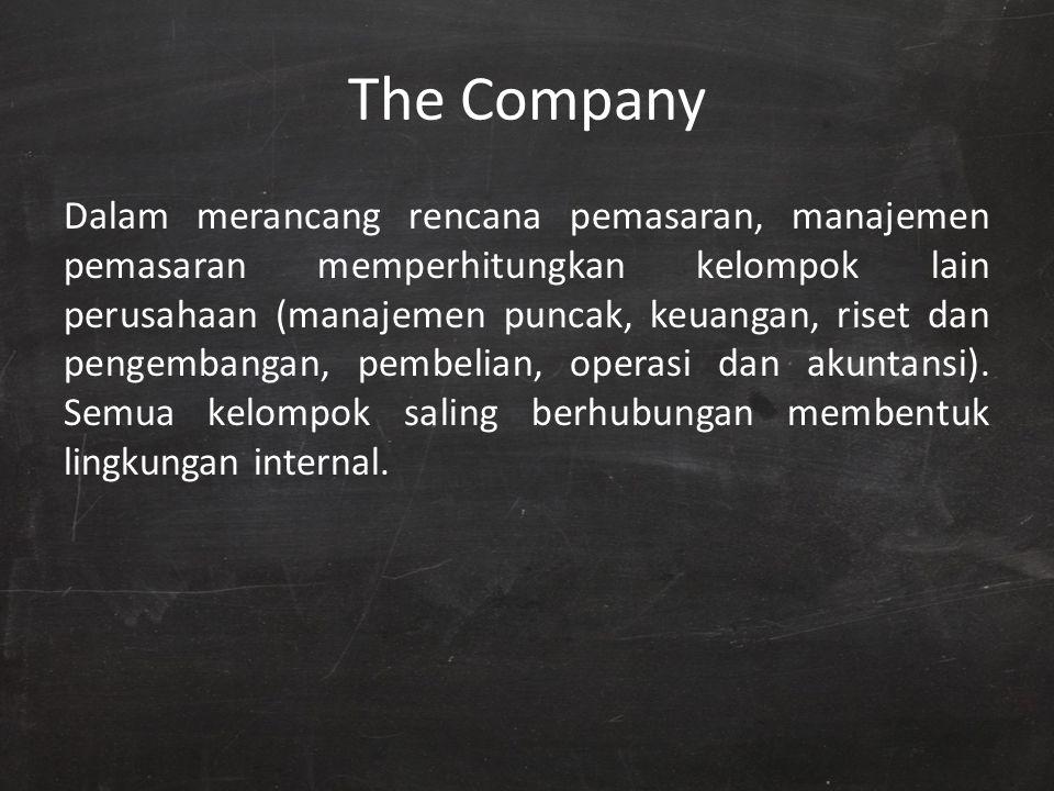 The Company Dalam merancang rencana pemasaran, manajemen pemasaran memperhitungkan kelompok lain perusahaan (manajemen puncak, keuangan, riset dan pen