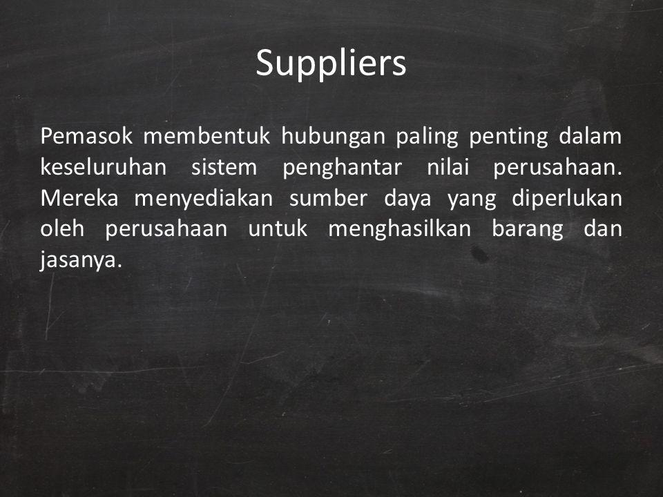 Suppliers Pemasok membentuk hubungan paling penting dalam keseluruhan sistem penghantar nilai perusahaan. Mereka menyediakan sumber daya yang diperluk