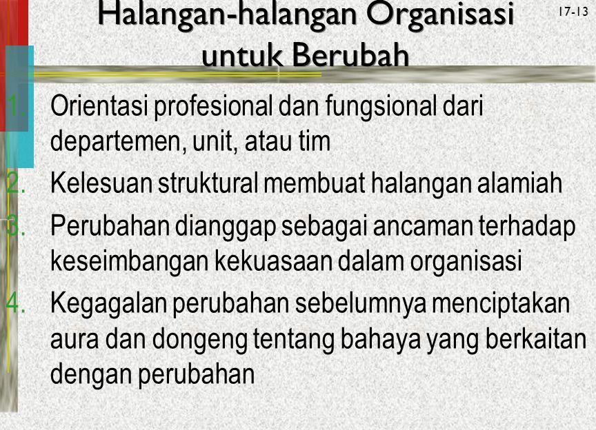 McGraw-Hill/Irwin© 2005 The McGraw-Hill Companies, Inc. All rights reserved. 17-13 Halangan-halangan Organisasi untuk Berubah 1.Orientasi profesional