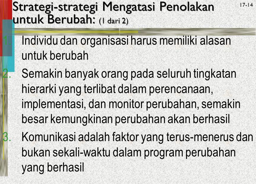 McGraw-Hill/Irwin© 2005 The McGraw-Hill Companies, Inc. All rights reserved. 17-14 Strategi-strategi Mengatasi Penolakan untuk Berubah: (1 dari 2) 1.I