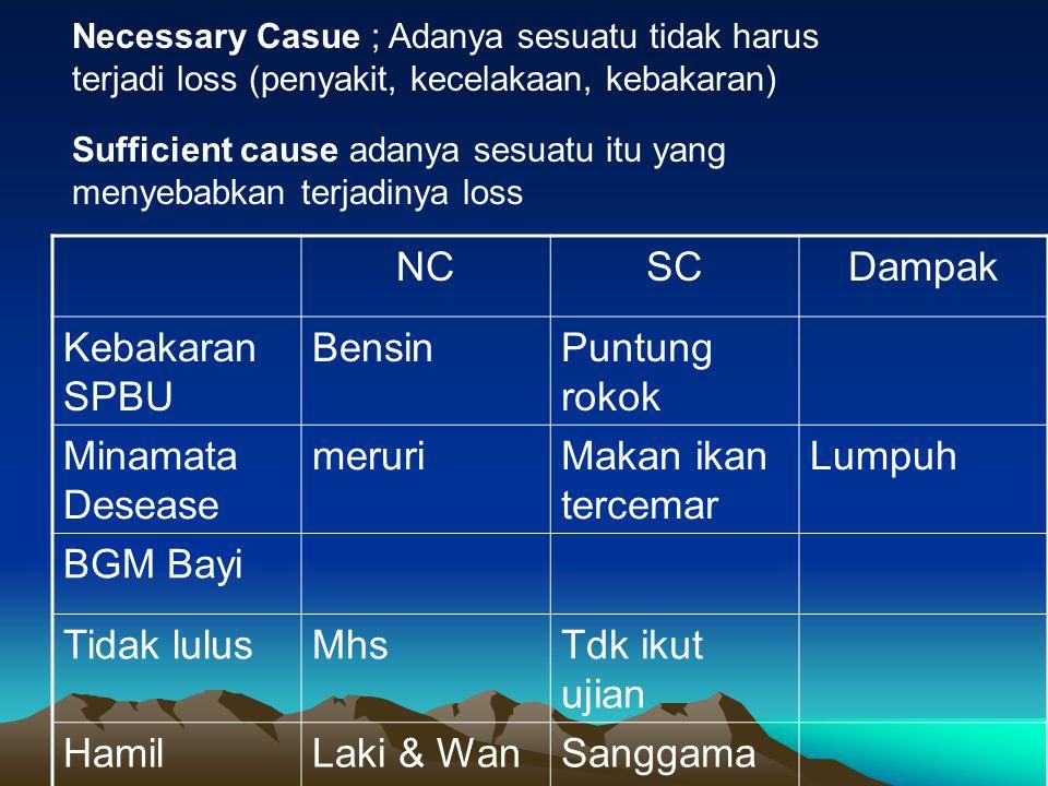 Necessary Casue ; Adanya sesuatu tidak harus terjadi loss (penyakit, kecelakaan, kebakaran) Sufficient cause adanya sesuatu itu yang menyebabkan terja