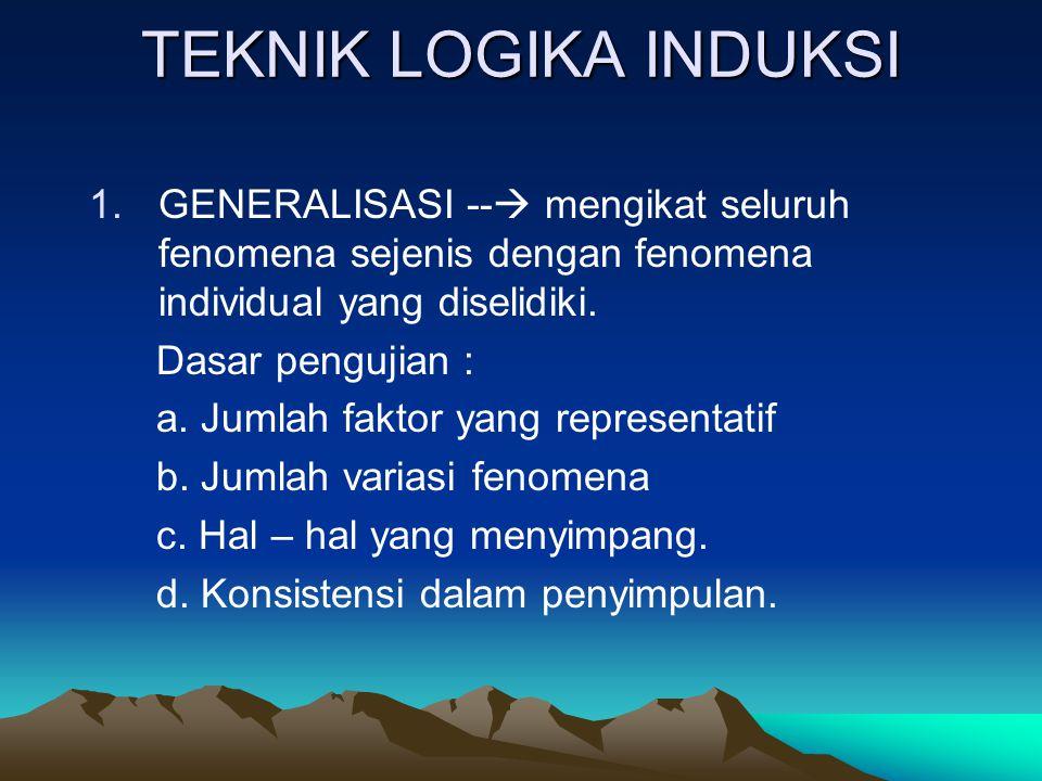 TEKNIK LOGIKA INDUKSI 1.GENERALISASI --  mengikat seluruh fenomena sejenis dengan fenomena individual yang diselidiki.