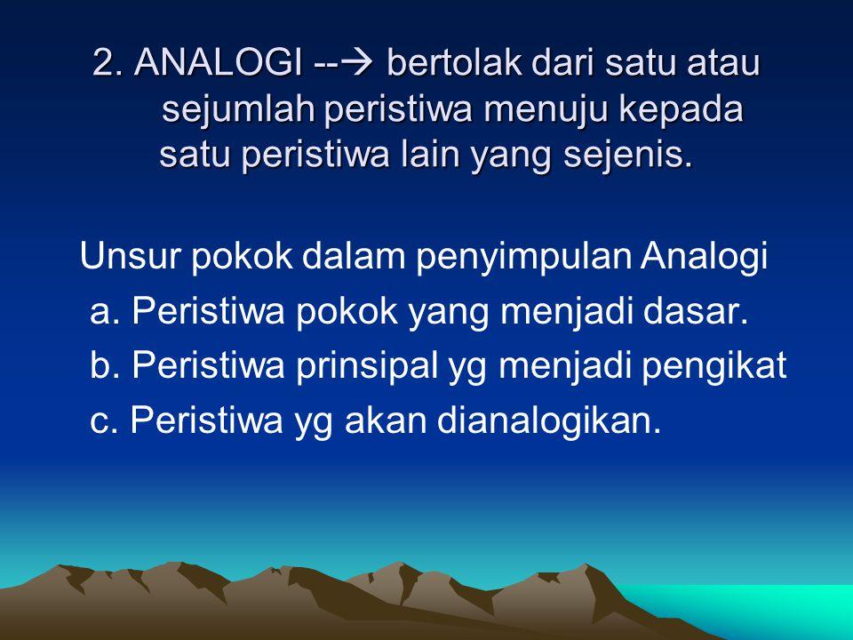 2. ANALOGI --  bertolak dari satu atau sejumlah peristiwa menuju kepada satu peristiwa lain yang sejenis. Unsur pokok dalam penyimpulan Analogi a. Pe