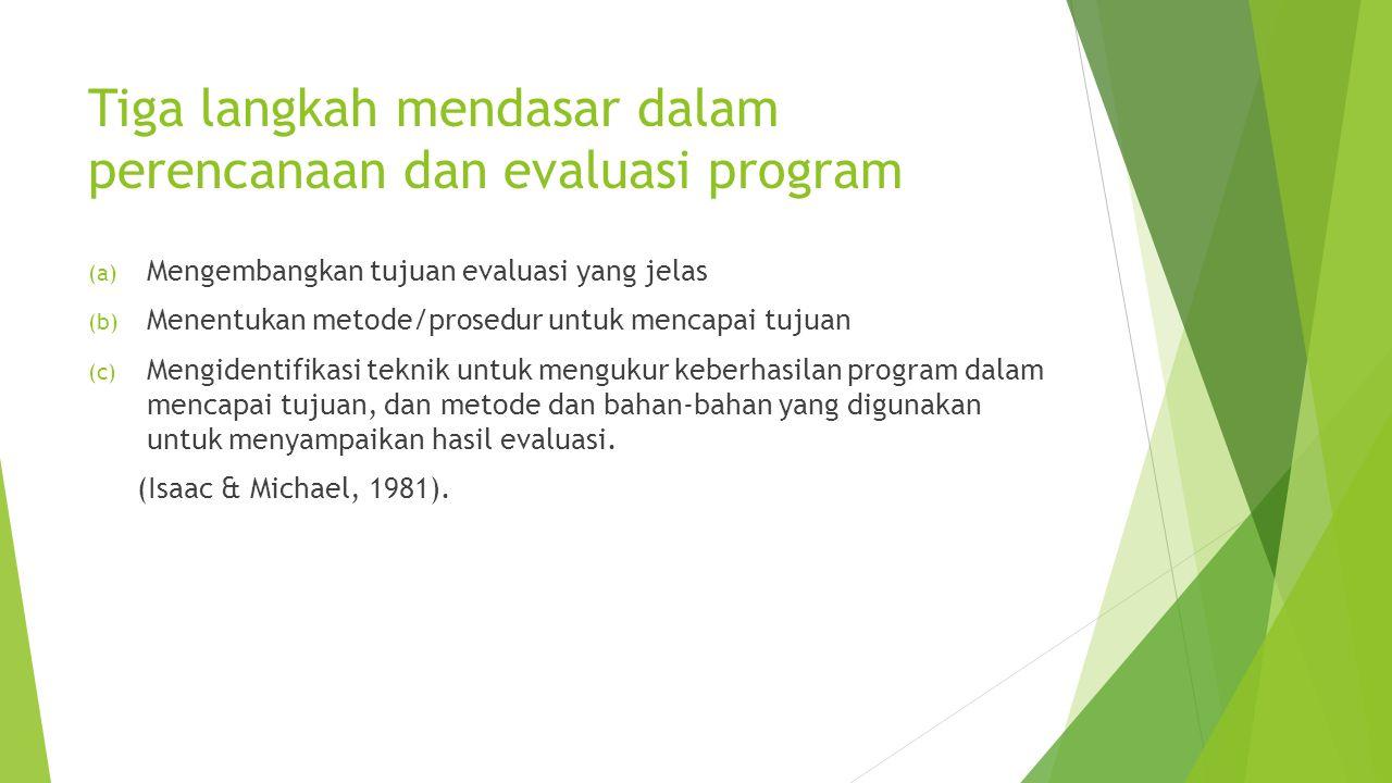 Tiga langkah mendasar dalam perencanaan dan evaluasi program (a) Mengembangkan tujuan evaluasi yang jelas (b) Menentukan metode/prosedur untuk mencapa