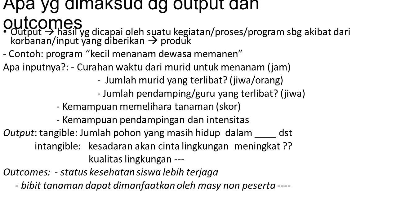 Apa yg dimaksud dg output dan outcomes Output  hasil yg dicapai oleh suatu kegiatan/proses/program sbg akibat dari korbanan/input yang diberikan  pr
