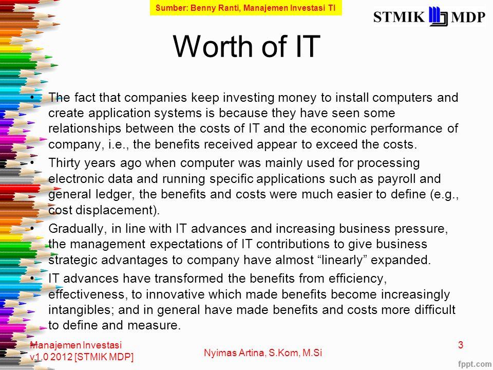Waves of Innovation and IT Investment Manajemen Investasi v1.0 2012 [STMIK MDP] 4 Nyimas Artina, S.Kom, M.Si