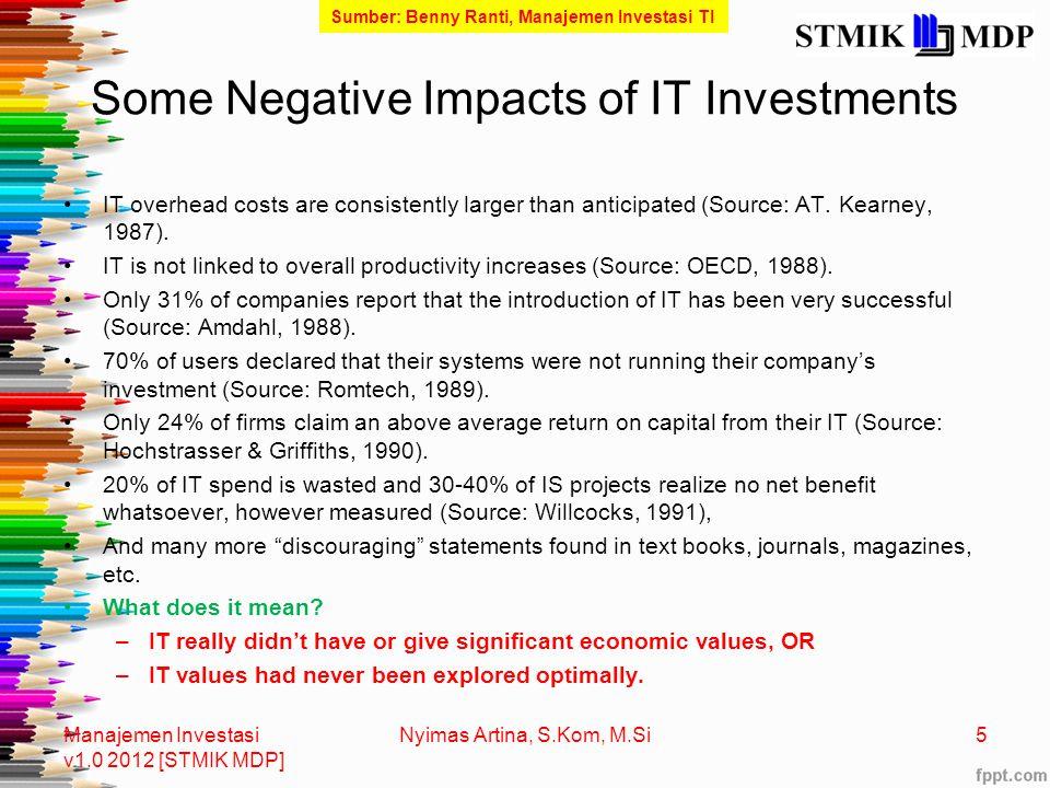 Fenomena Gunung Es Manajemen Investasi v1.0 2012 [STMIK MDP] 6 Nyimas Artina, S.Kom, M.Si