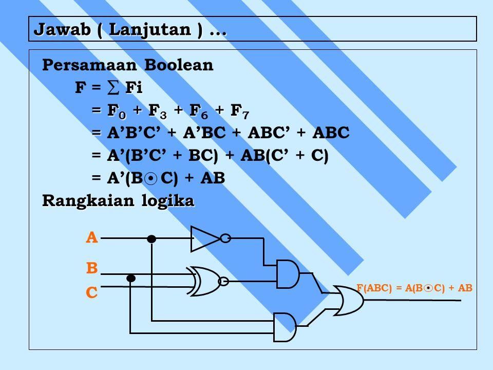 Jawab ( Lanjutan )... Persamaan Boolean Fi F=  Fi = F 0 + F 3 + F + F = F 0 + F 3 + F 6 + F 7 = = A'B'C' + A'BC + ABC' + ABC = A'(B'C' + BC) + AB(C'