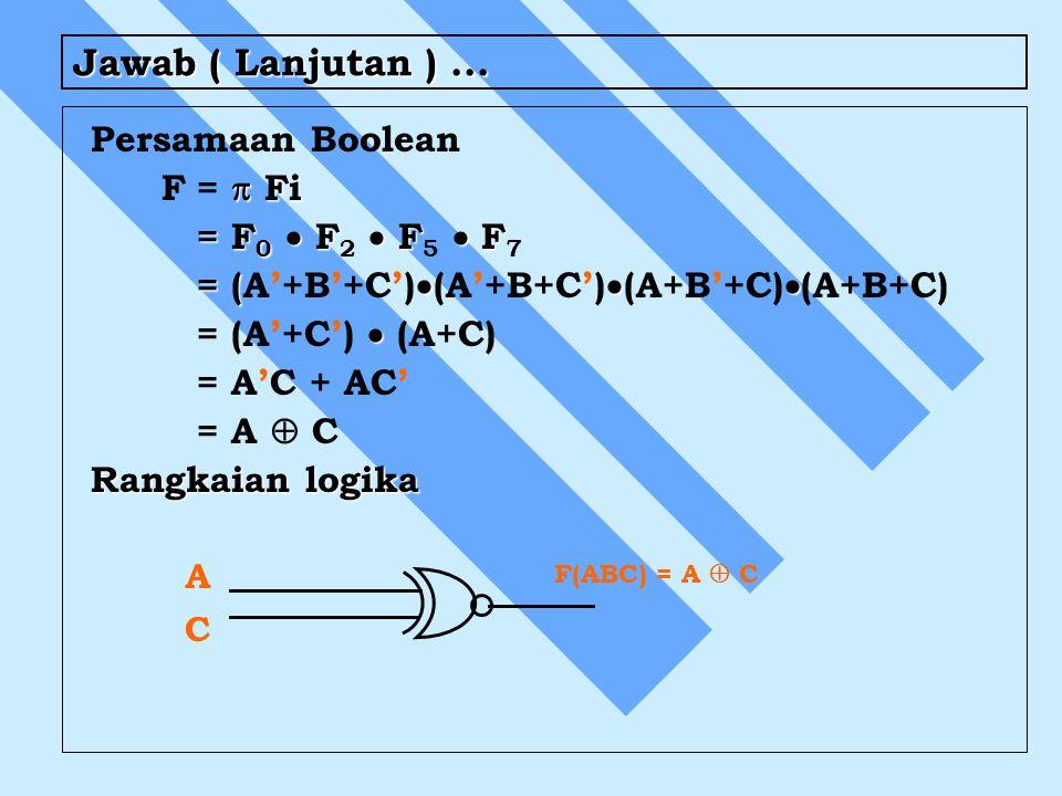Jawab ( Lanjutan )... Persamaan Boolean  Fi F=  Fi = F 0  F  F  F = F 0  F 2  F 5  F 7 = (  = (A'+B'+C')  (A'+B+C')  (A+B'+C)  (A+B+C) 