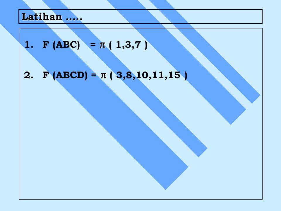 Latihan ….. 1.  1.F (ABC) =  ( 1,3,7 ) 2.  2.F (ABCD) =  ( 3,8,10,11,15 )