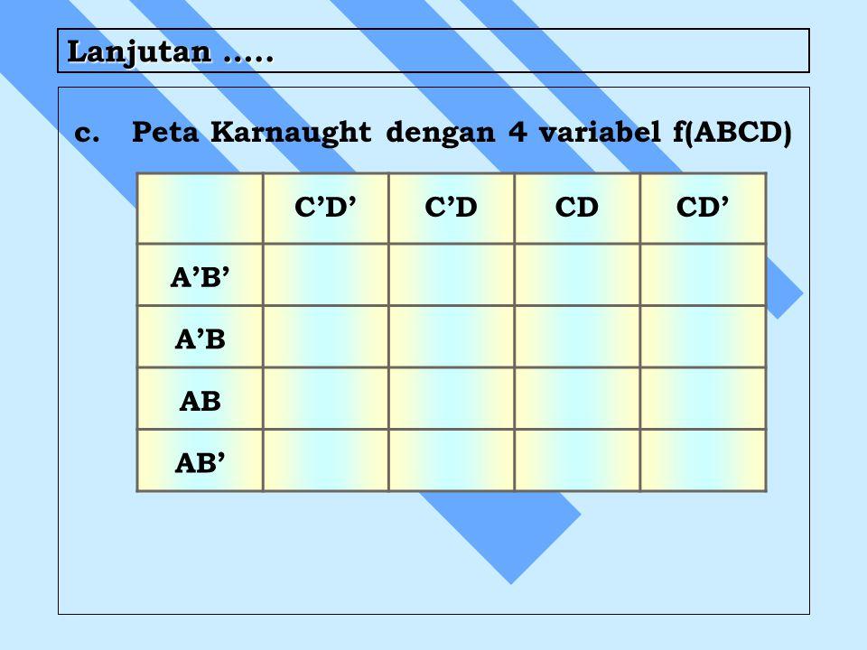 Lanjutan ….. c.Peta Karnaught dengan 4 variabel f(ABCD) C'D'C'DCDCD' A'B' A'B AB AB'