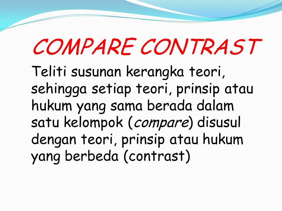 COMPARE CONTRAST Teliti susunan kerangka teori, sehingga setiap teori, prinsip atau hukum yang sama berada dalam satu kelompok (compare) disusul denga