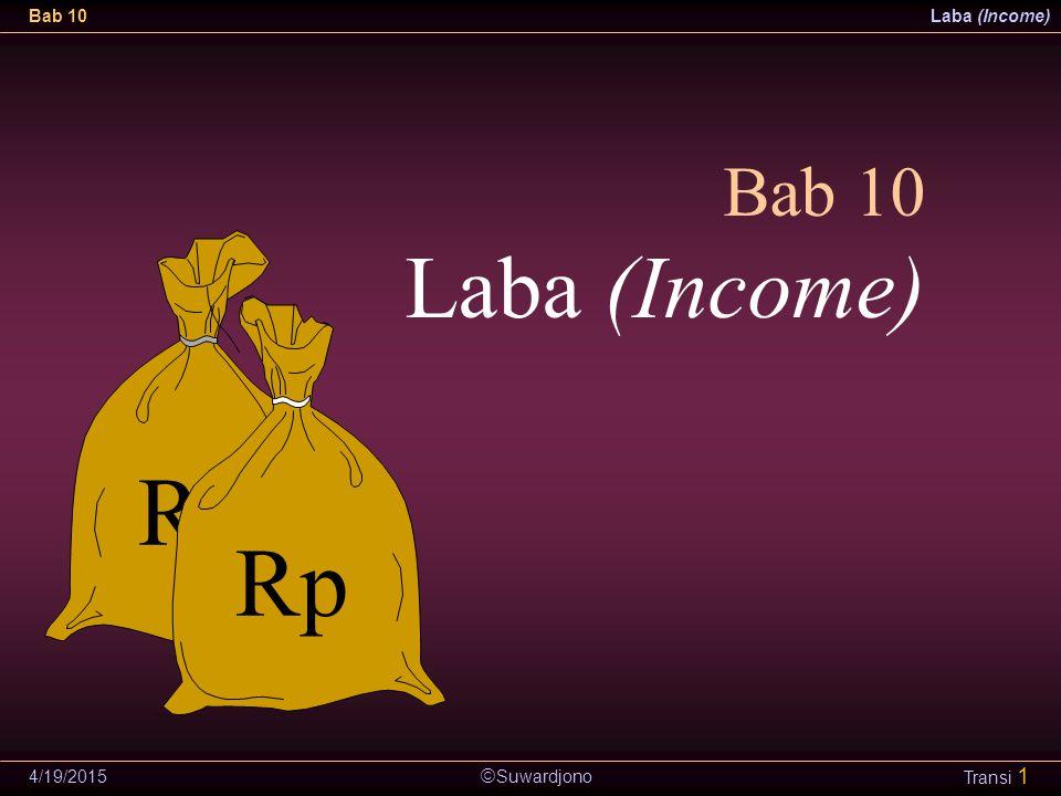  Suwardjono Bab 10Laba (Income) 4/19/2015 Transi 1 Bab 10 Laba (Income) Rp