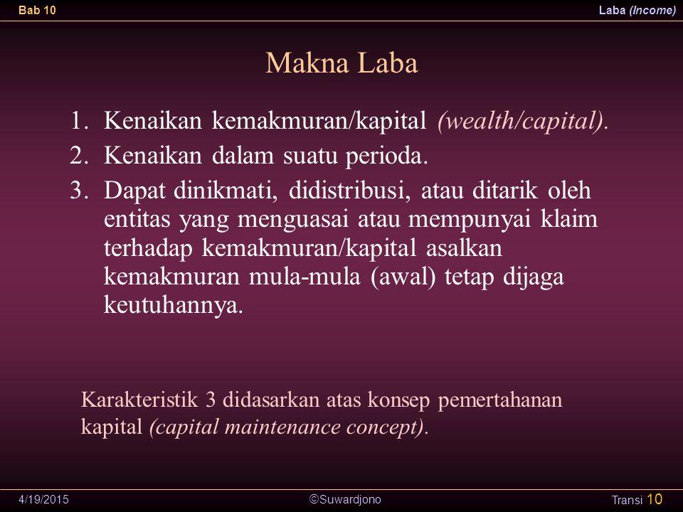  Suwardjono Bab 10Laba (Income) 4/19/2015 Transi 10 Makna Laba 1.Kenaikan kemakmuran/kapital (wealth/capital). 2.Kenaikan dalam suatu perioda. 3.Dapa
