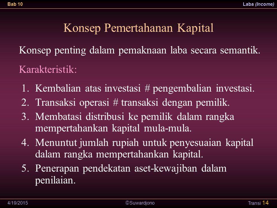  Suwardjono Bab 10Laba (Income) 4/19/2015 Transi 14 Konsep Pemertahanan Kapital 1.Kembalian atas investasi # pengembalian investasi. 2.Transaksi oper