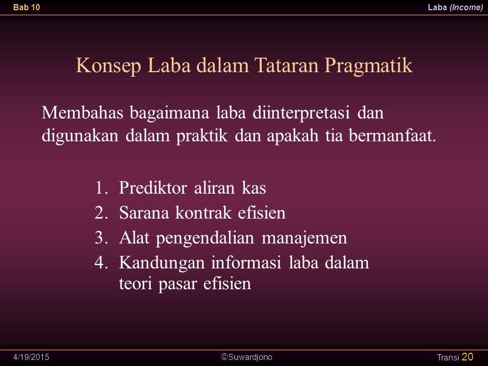  Suwardjono Bab 10Laba (Income) 4/19/2015 Transi 20 Konsep Laba dalam Tataran Pragmatik 1.Prediktor aliran kas 2.Sarana kontrak efisien 3.Alat pengen
