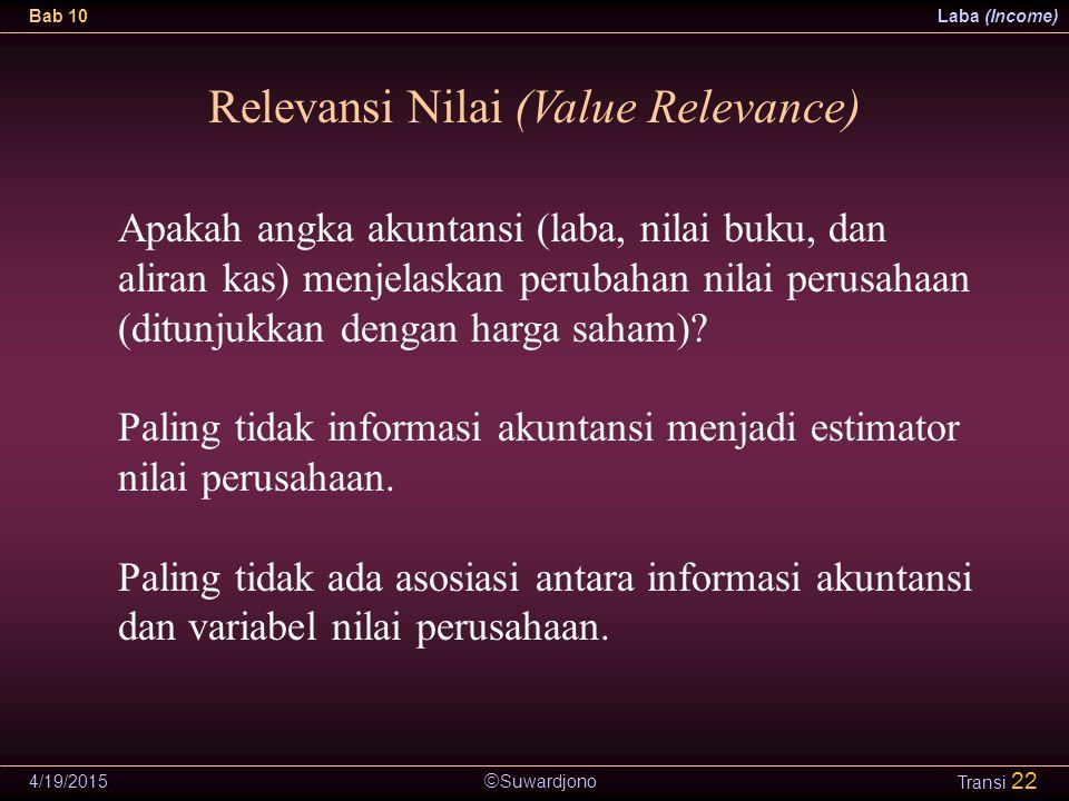 Suwardjono Bab 10Laba (Income) 4/19/2015 Transi 22 Relevansi Nilai (Value Relevance) Apakah angka akuntansi (laba, nilai buku, dan aliran kas) menje