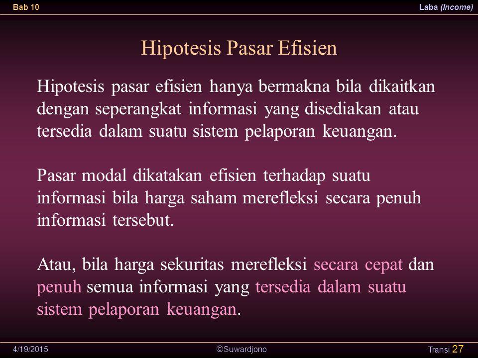  Suwardjono Bab 10Laba (Income) 4/19/2015 Transi 27 Hipotesis Pasar Efisien Hipotesis pasar efisien hanya bermakna bila dikaitkan dengan seperangkat