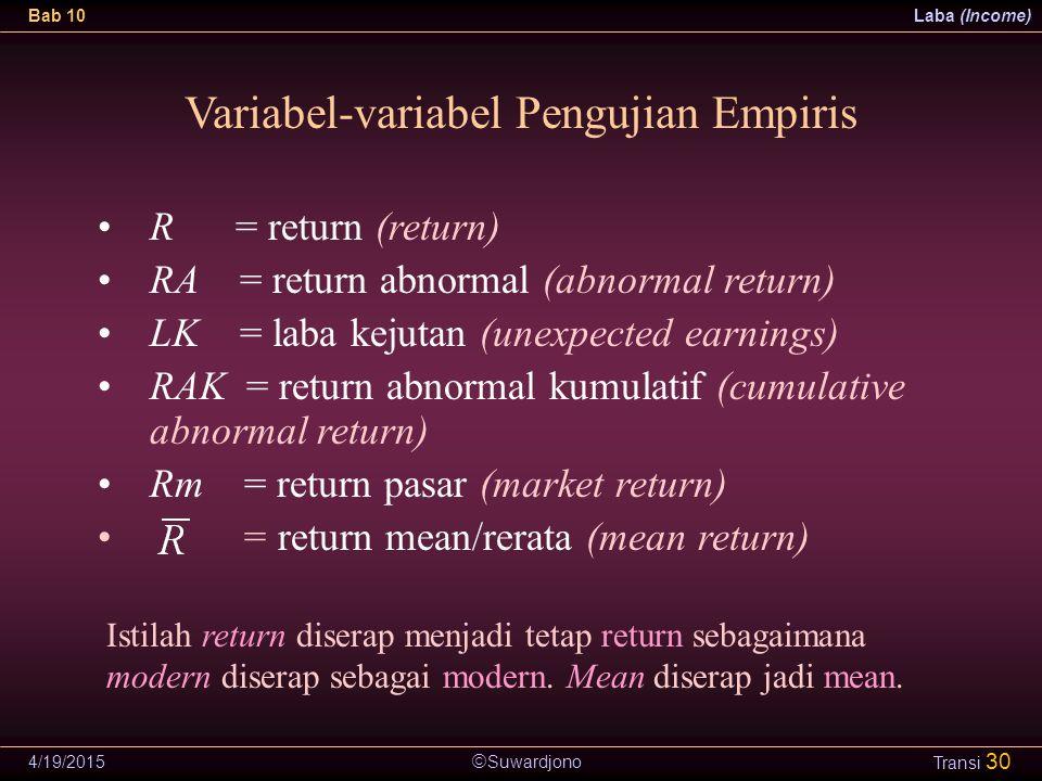  Suwardjono Bab 10Laba (Income) 4/19/2015 Transi 30 Variabel-variabel Pengujian Empiris R = return (return) RA = return abnormal (abnormal return) LK