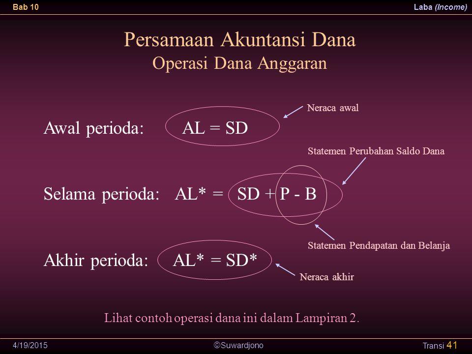  Suwardjono Bab 10Laba (Income) 4/19/2015 Transi 41 Persamaan Akuntansi Dana Operasi Dana Anggaran Awal perioda: AL = SD Selama perioda: AL* = SD + P