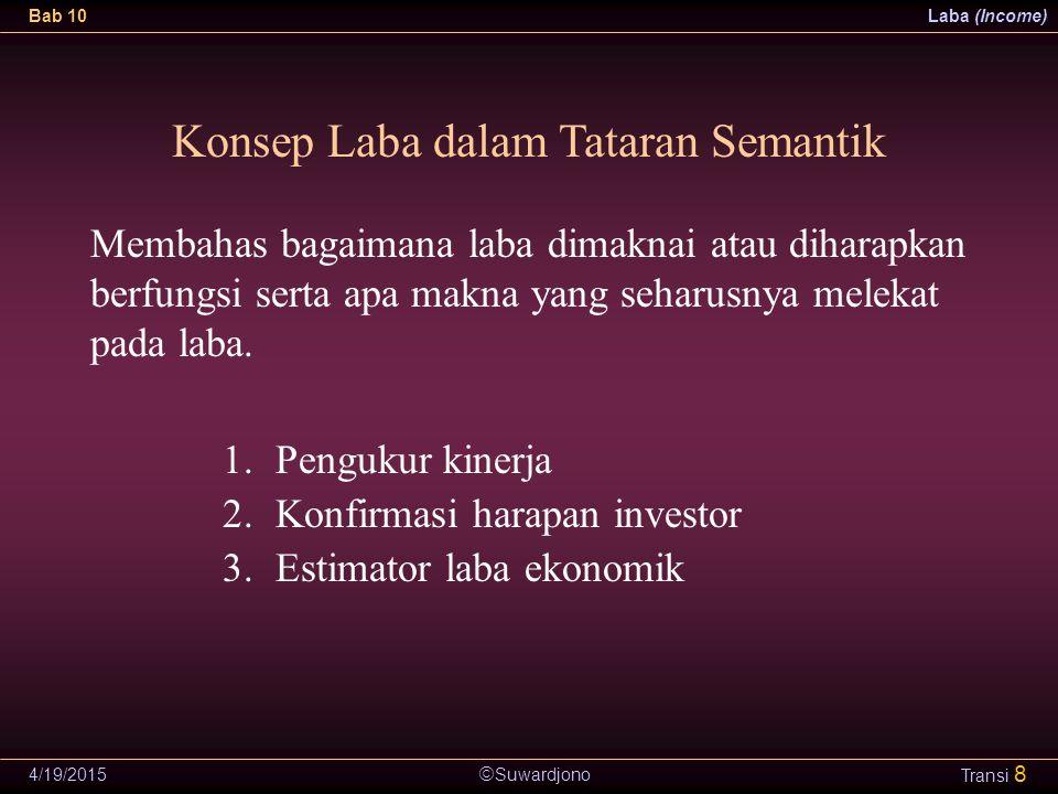  Suwardjono Bab 10Laba (Income) 4/19/2015 Transi 8 Konsep Laba dalam Tataran Semantik 1.Pengukur kinerja 2.Konfirmasi harapan investor 3.Estimator la