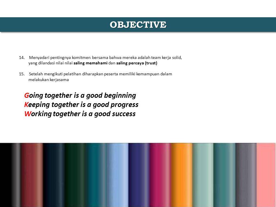 OBJECTIVE 14. Menyadari pentingnya komitmen bersama bahwa mereka adalah team kerja solid, yang dilandasi nilai nilai saling memahami dan saling percay