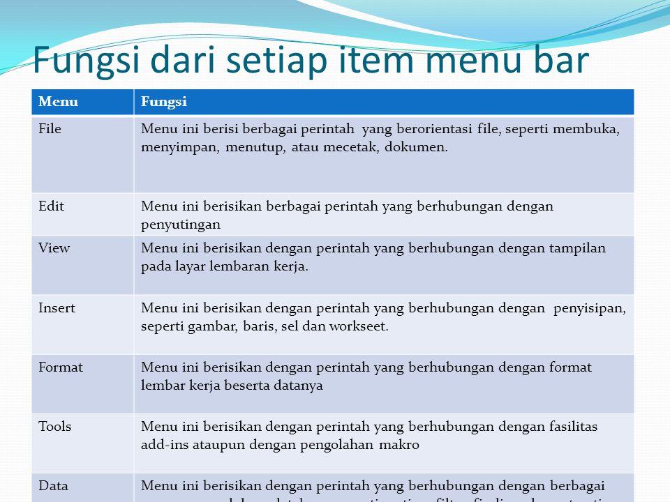 Fungsi dari setiap item menu bar MenuFungsi FileMenu ini berisi berbagai perintah yang berorientasi file, seperti membuka, menyimpan, menutup, atau mecetak, dokumen.