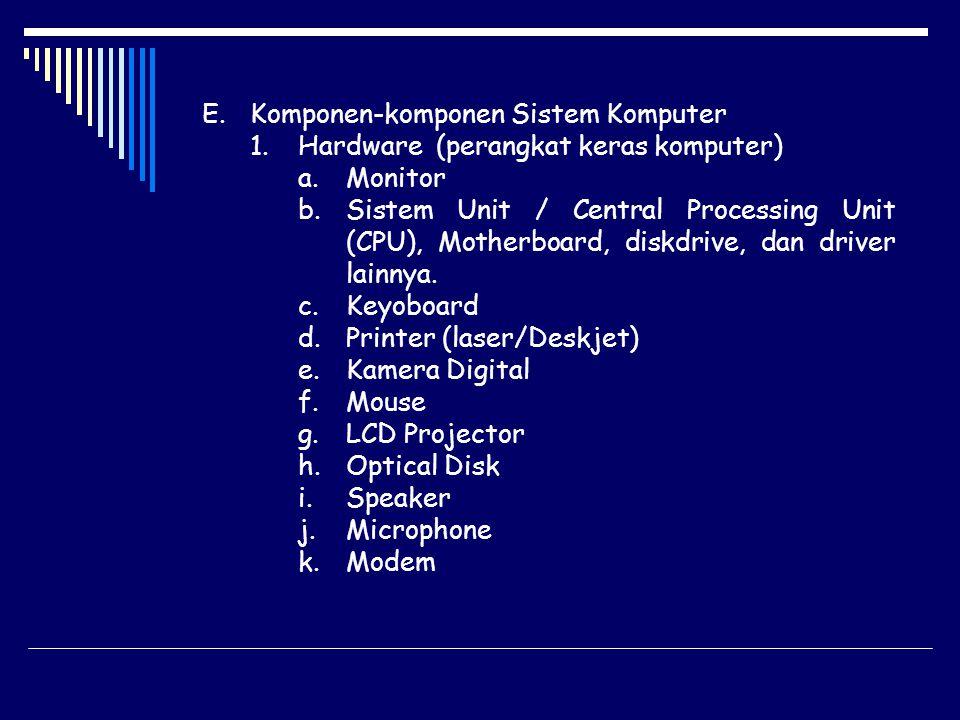 E.Komponen-komponen Sistem Komputer 1.Hardware (perangkat keras komputer) a.Monitor b.Sistem Unit / Central Processing Unit (CPU), Motherboard, diskdr