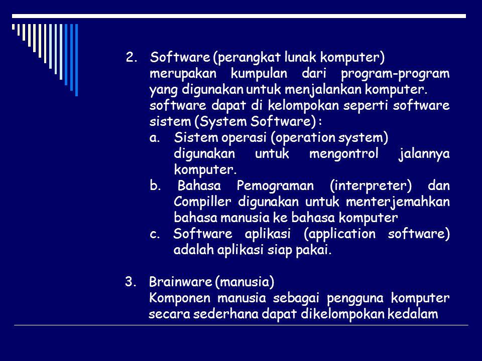 2.Software (perangkat lunak komputer) merupakan kumpulan dari program-program yang digunakan untuk menjalankan komputer. software dapat di kelompokan