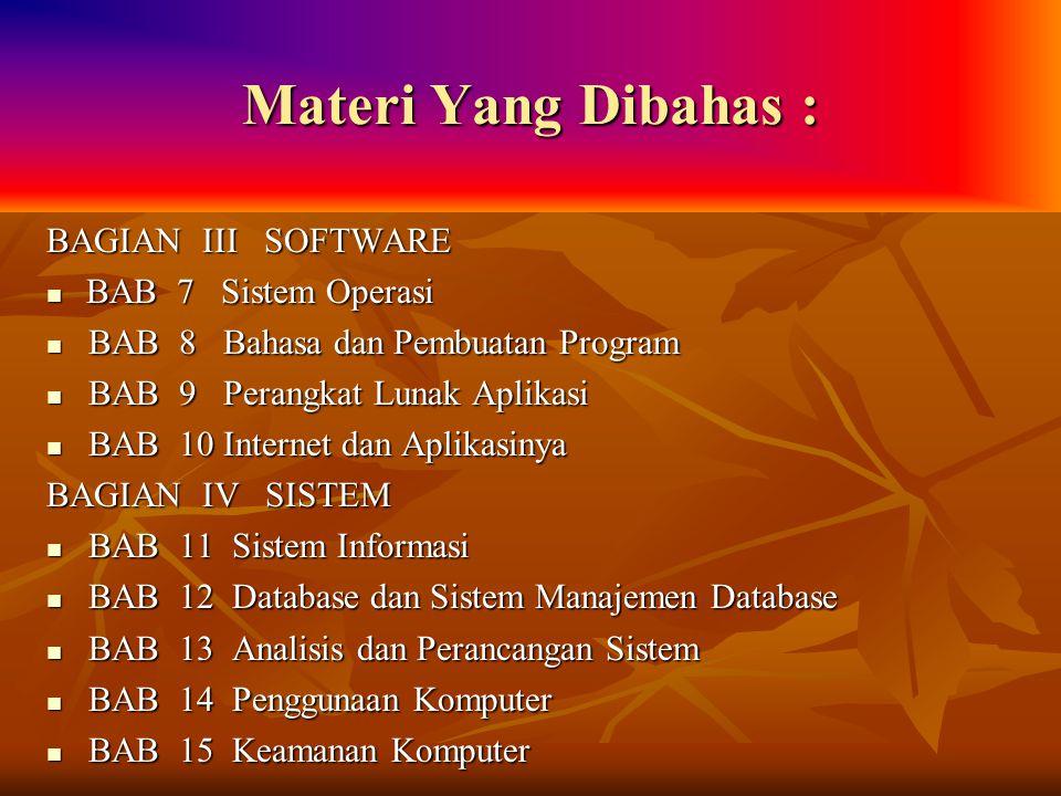 Materi Yang Dibahas : BAGIAN III SOFTWARE BAB 7 Sistem Operasi BAB 7 Sistem Operasi BAB 8 Bahasa dan Pembuatan Program BAB 8 Bahasa dan Pembuatan Prog