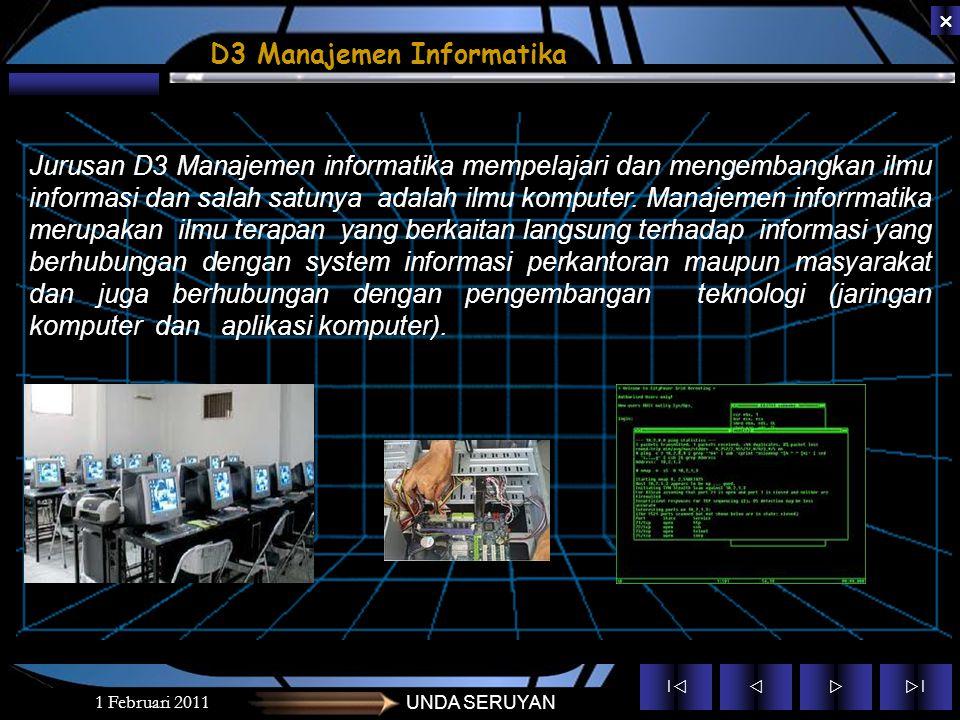 ||  ||  1 januari 2011UNDA SERUYAN S-1 Sistem Informasi D3 Manajemen Informatika Program Studi Sofware Computer Sofware Computer Hardware compu