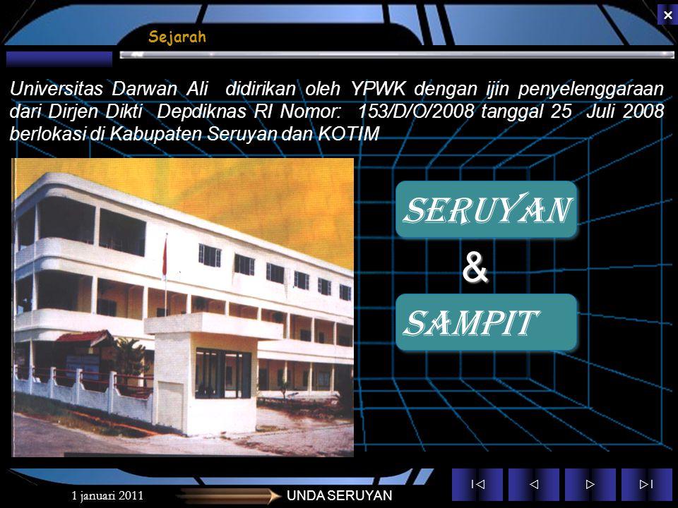 ||  ||  1 januari 2011UNDA SERUYAN Sejarah Universitas Darwan Ali didirikan oleh YPWK dengan ijin penyelenggaraan dari Dirjen Dikti Depdiknas RI Nomor: 153/D/O/2008 tanggal 25 Juli 2008 berlokasi di Kabupaten Seruyan dan KOTIM SAMPIT SERUYAN &