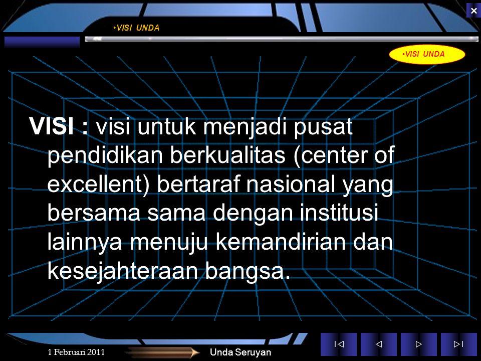 ||  ||  VISI : visi untuk menjadi pusat pendidikan berkualitas (center of excellent) bertaraf nasional yang bersama sama dengan institusi lainnya menuju kemandirian dan kesejahteraan bangsa.
