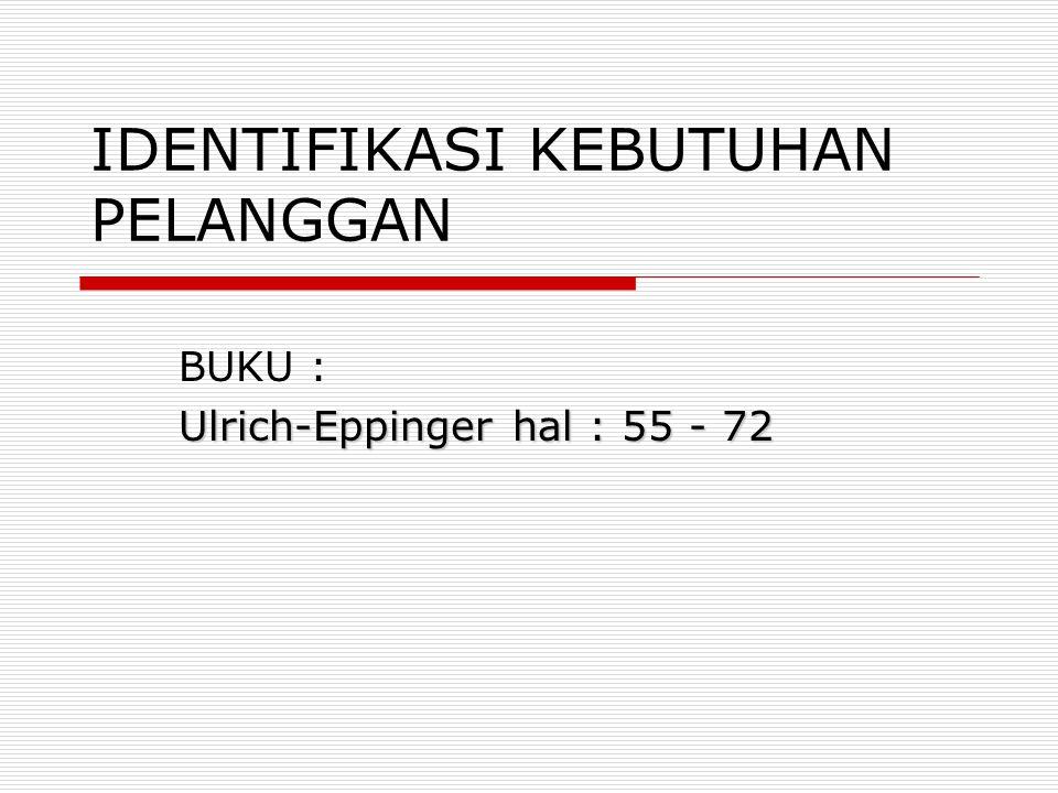 IDENTIFIKASI KEBUTUHAN PELANGGAN BUKU : Ulrich-Eppinger hal : 55 - 72
