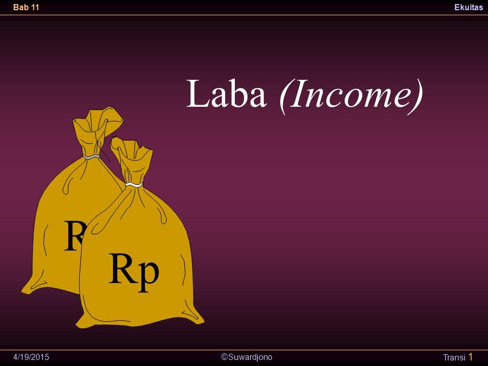  Suwardjono Bab 11Ekuitas 4/19/2015 Transi 2 Masalah Istilah IAI memadankan income dengan penghasilan yang meliputi pendapatan dan untung.