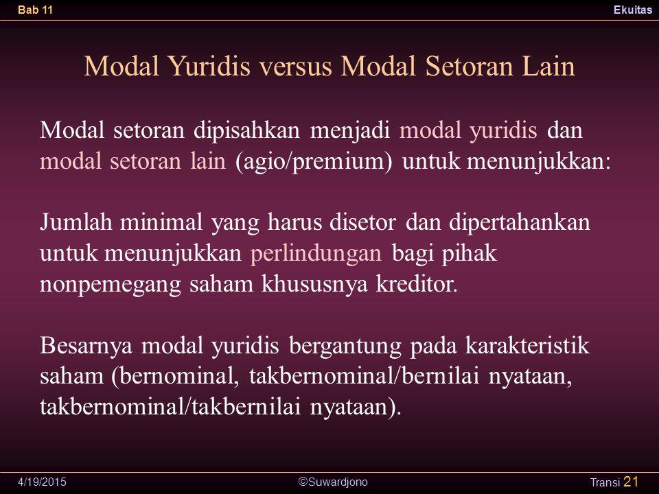  Suwardjono Bab 11Ekuitas 4/19/2015 Transi 21 Modal Yuridis versus Modal Setoran Lain Modal setoran dipisahkan menjadi modal yuridis dan modal setora