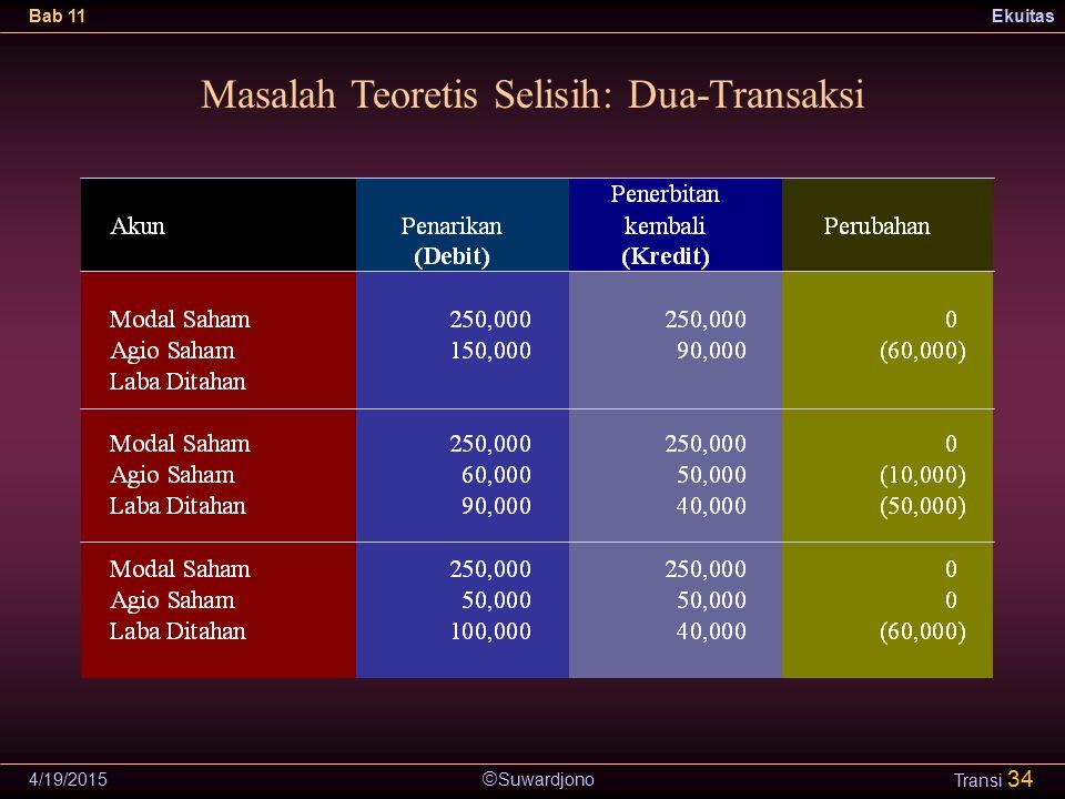  Suwardjono Bab 11Ekuitas 4/19/2015 Transi 34 Masalah Teoretis Selisih: Dua-Transaksi