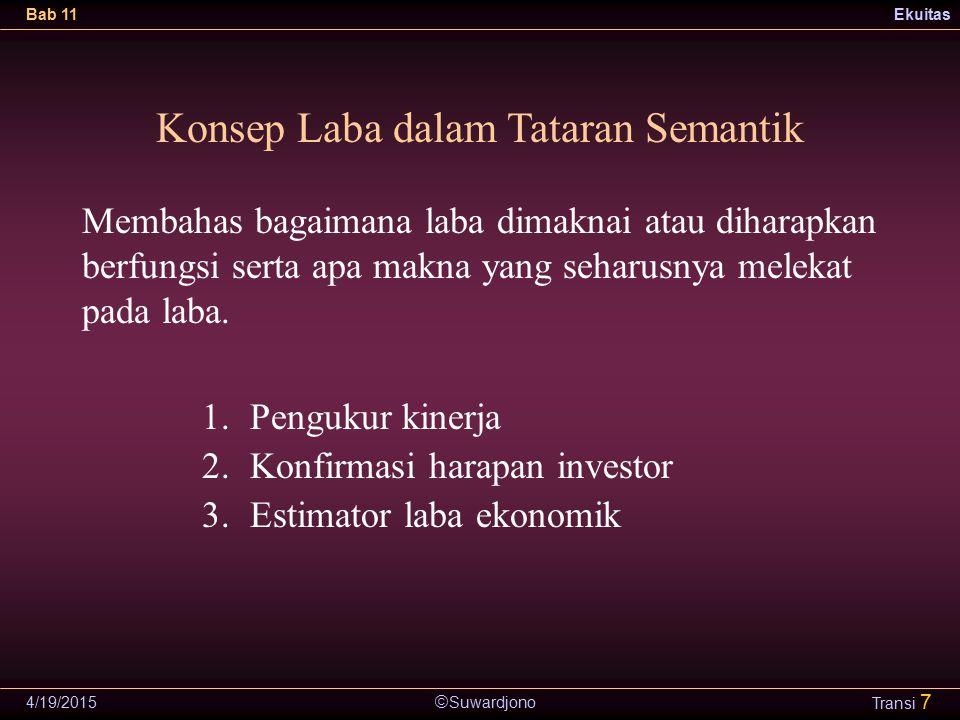  Suwardjono Bab 11Ekuitas 4/19/2015 Transi 7 Konsep Laba dalam Tataran Semantik 1.Pengukur kinerja 2.Konfirmasi harapan investor 3.Estimator laba eko