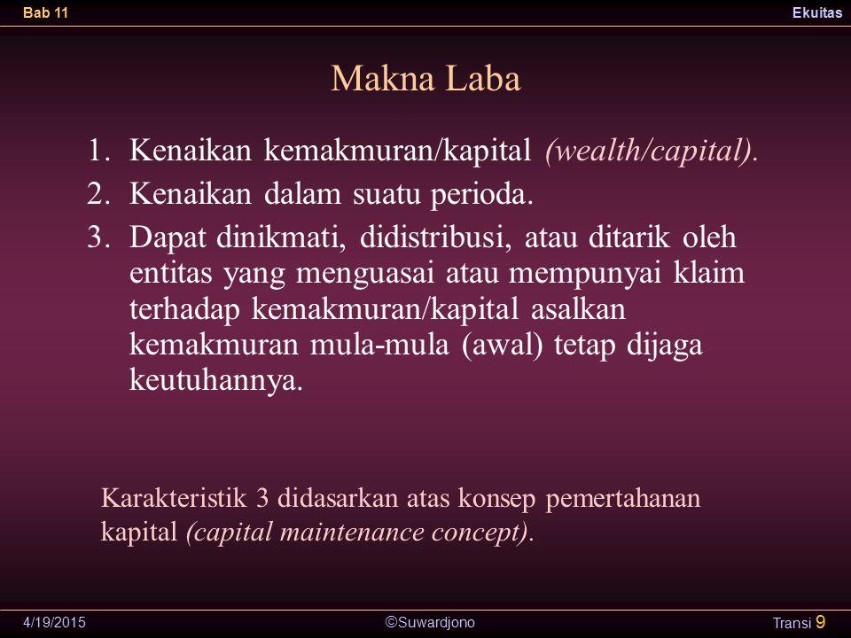  Suwardjono Bab 11Ekuitas 4/19/2015 Transi 9 Makna Laba 1.Kenaikan kemakmuran/kapital (wealth/capital). 2.Kenaikan dalam suatu perioda. 3.Dapat dinik
