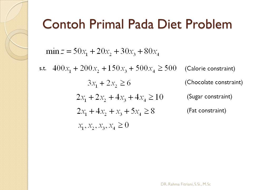 Contoh Primal Pada Diet Problem DR.