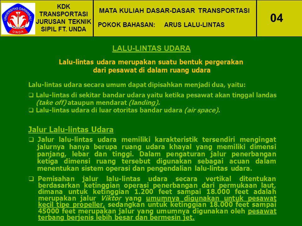 KDK TRANSPORTASI JURUSAN TEKNIK SIPIL FT. UNDA MATA KULIAH DASAR-DASAR TRANSPORTASI POKOK BAHASAN:ARUS LALU-LINTAS 04 LALU-LINTAS UDARA Lalu-lintas ud