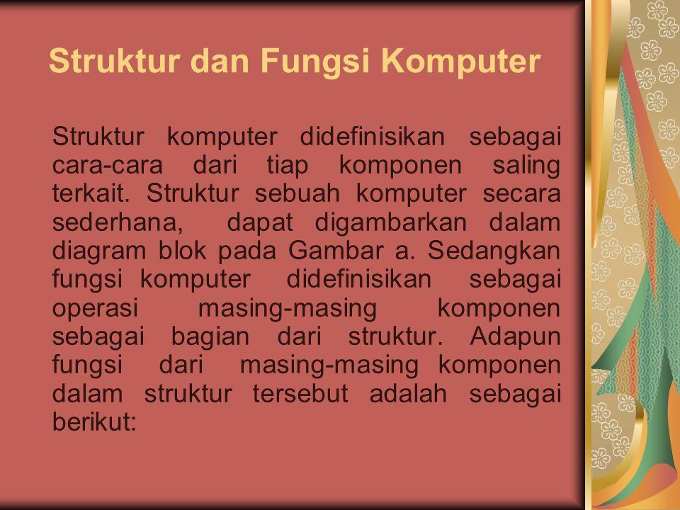 Struktur dan Fungsi Komputer a)Input Device (Alat Masukan) Adalah perangkat keras komputer yang berfungsi sebagai alat untuk memasukan data atau perintah ke dalam komputer.